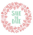 save the date with pastel wreath card isolated vector image