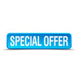 special offer blue 3d realistic square isolated vector image vector image