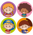 sticker template with happy children vector image vector image