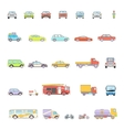 Stylish Retro Car Line Icons Set Isolated vector image vector image