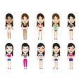 summer casual fashion set woman characters vector image