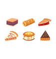 sweets desserts objects collection strawberry vector image
