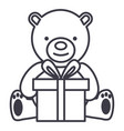 teddy bear with gift box line icon sig vector image vector image