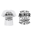 tshirt print with miner pickaxe and helmet mockup vector image