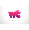 wc w c letter logo with pink purple color and vector image vector image