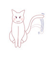 white cute cat wagging their tail vector image vector image