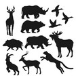wild animals black isolated silhouettes vector image
