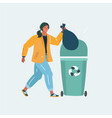 woman throw organic garbage away in container vector image vector image