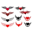 Heart tattoos with wings vector image