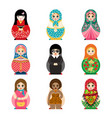traditional russian matryoshka toy set with vector image