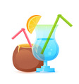 Fresh summer cocktail in glass and coconut vector image