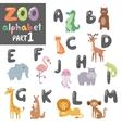 Cute zoo english alphabet with cartoon vector image