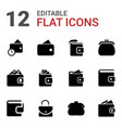 12 wallet icons vector image vector image