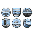airport planes flight tickets pilot and aircrew vector image vector image