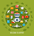 airport service flat advertisement poster vector image vector image