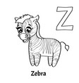 alphabet letter z coloring page zebra vector image vector image