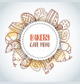 bakery cafe menu text background sweet pastry vector image vector image