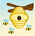 bee and hive on tree branch vector image vector image