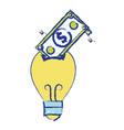 bulb save bill cash money inside vector image vector image