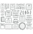 bullet journal elements hand drawn doodle vector image