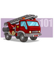 cartoon emergency rescue fire department truck vector image vector image