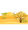 cartoon landscape of hot desert with big sandy vector image vector image