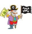 Cartoon pirate holding a map and flag vector image