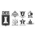 chess game isolated monochrome icon pieces and vector image vector image