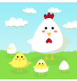 Chicken Chick and Egg in Field vector image vector image