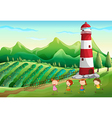 Children playing near the tower at the farm vector image vector image