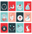 christmas new year card collection design template vector image vector image