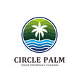 circle palm with green and blue color vector image