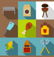 cooking on fire icon set flat style vector image vector image