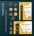 creative certificate template with orange luxury vector image
