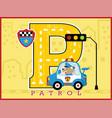cute police cartoon on patrol car vector image vector image