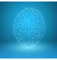 Digital brain on blue background vector image vector image