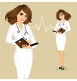 doctor writing something in planner vector image vector image