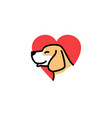 dog love smile cute logo icon download vector image vector image