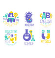 education for kids logo set physics english vector image vector image