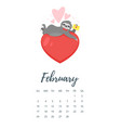 february 2019 year calendar page vector image