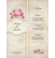 Floral decorative wedding menu template design vector image vector image