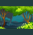 forest scene with trees and bush vector image vector image