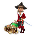 girl pirate with treasure chest vector image vector image
