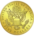 gold Dollar coin with eagle vector image vector image