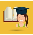 graduate student with books isolated icon design vector image