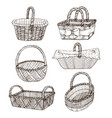 hand drawn baskets vector image vector image