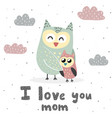 i love you mom print with cute owls vector image