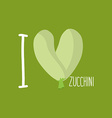 I love Zucchini Heart of green courgettes vector image vector image