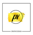 initial letter px logo template design vector image