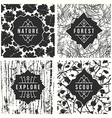 Label design with seamless patterns vector image vector image